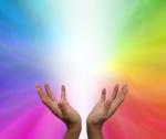upheld hands radiating healing energy